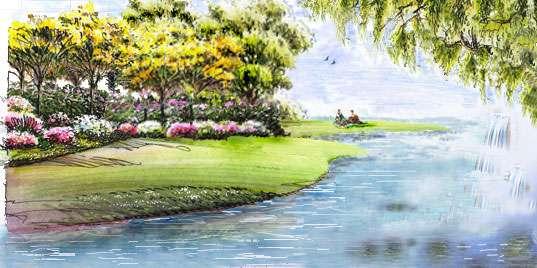 河岸水景景观手绘效果图 园林手绘小品